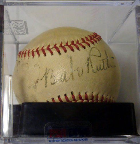 Babe Ruth Autographed Baseball Graded 6 PSA/DNA #T01405 . $22.50. This is an Official League Baseball that has been hand signed by Babe Ruth. The ball has been professionally graded by PSA/DNA, with the Ruth signature a 6, the baseball a 6 with the overall grade a 6. The autograph has been certified authentic by PSA/DNA and comes with their sticker and matching full page certificate of authenticity.