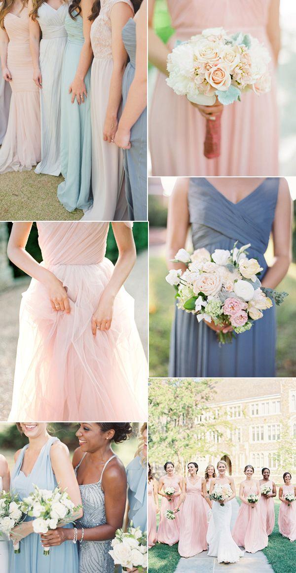 shades of pink and blue pantone's 2016 colors bridesmaid dresses