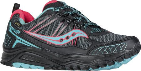 Women's Saucony Excursion TR10 GORE-TEX Trail Running Shoe - Black/Coral/Blue Running Shoes