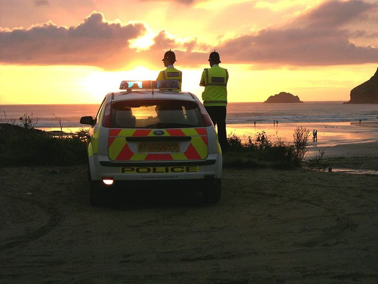 Bobbies on the beat at #Polzeath Beach #Cornwall