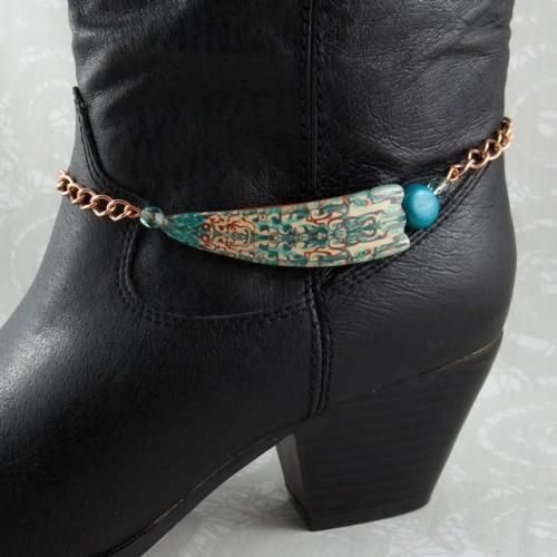Inspirations : Boot Bracelet - Turquoise and Copper