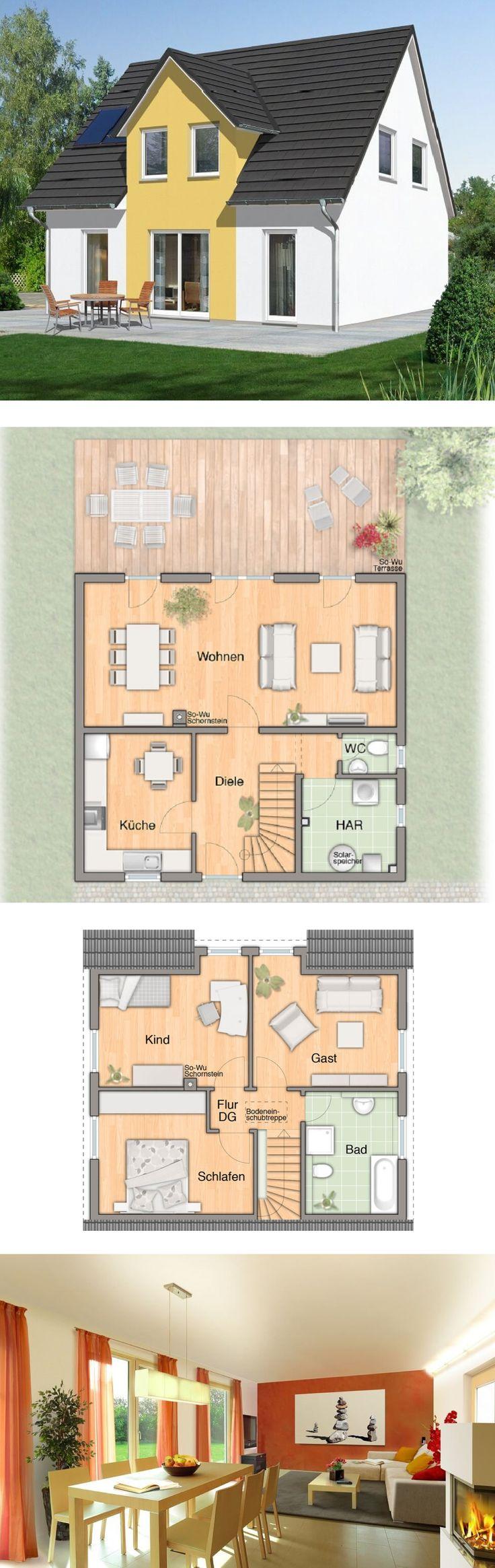 EINFAMILIENHAUS Flair 113 Town & Country Haus * Massivhaus bauen Grundriss 5 Zimmer Satteldach Fassade Putz Küche separat Terrasse ( HausbauDirekt.de )