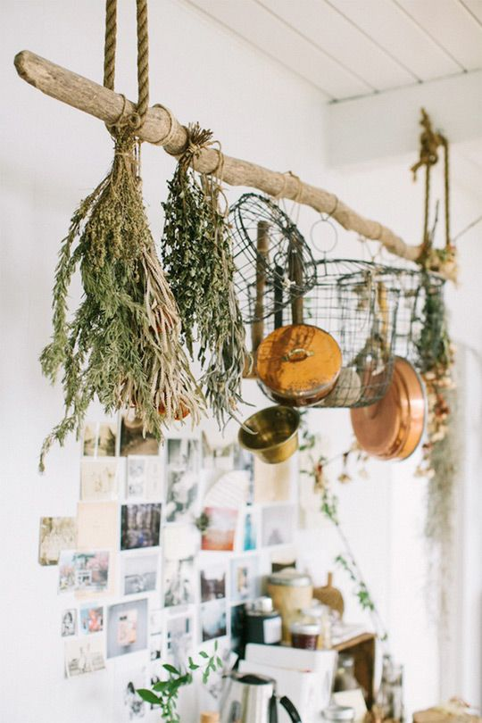Project Idea: Rustic Driftwood Pot Rack @Apartment Therapy