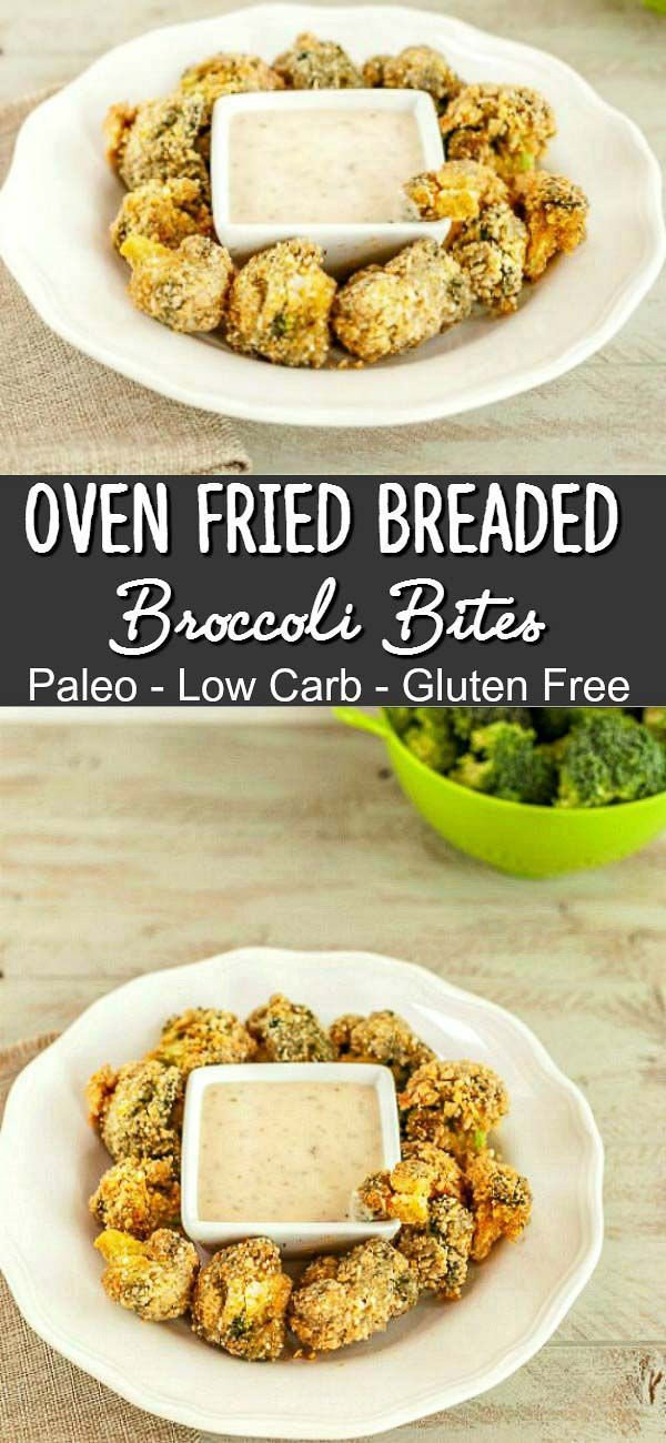 Oven Fried Breaded Broccoli Bites- Paleo, low carb and gluten free. Easy & Tasty!