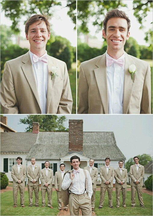 Tan Suits And Pink Bow Ties I Do Pinterest Pink