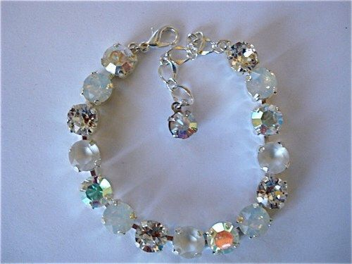 White Opal Ice Bridal Tennis Bracelet - swarovski crystal