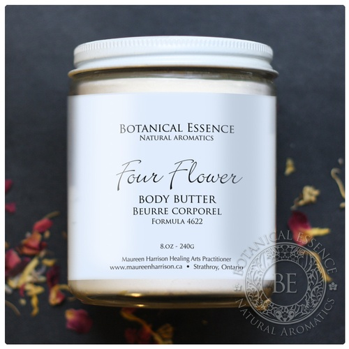 Four Flower Body Butter A rich, soothing, highly moisturizing body butter made with natural and organic ingredients.
