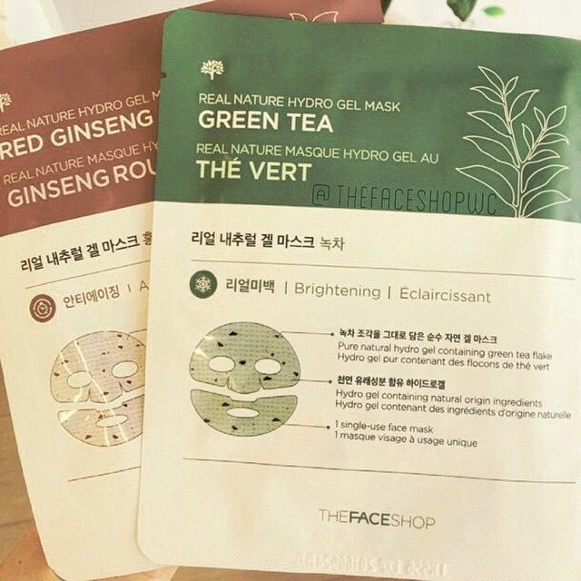 Real Nature Hydro Gel Mask #GreenTea : #brightening #RedGinseng : #antiaging
