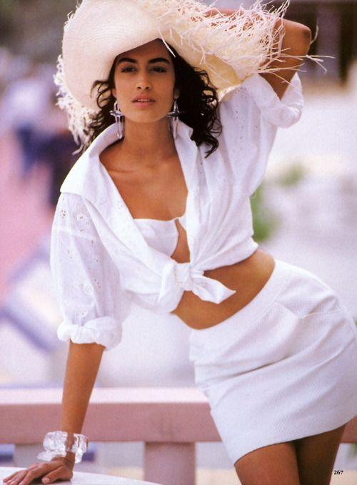 """Dress Whites"", Vogue US, May 1990 Photographer : Patrick Demarchelier Model : Yasmeen Ghauri"