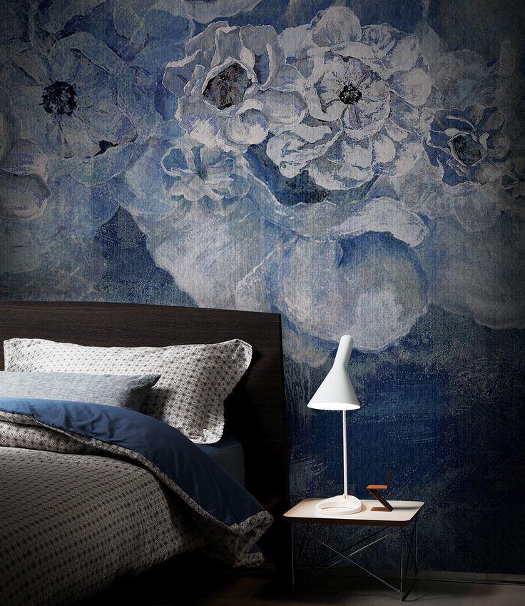 Tappezzeria fiori blu