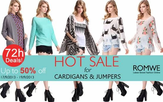 Romwe Hot Sale for Cardigans & Jumpers Up to 50 %off Valid dates: Sep17 to Sep19 Only 72 hours!!Don't miss, girls! Go : http://www.romwe.com/manage_activity/cardigan-flash-sale/?wn And flash sale: http://www.romwe.com/manage_activity/best_seller_sale/?wn