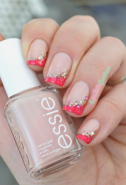 essie bridal collection 2015 worth the wait and brides no grooms pink funky french manicure with glitters