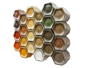 Große Bio magnetische Gewürz-Set für Kühlschrank: umfasst 24 Bio Speisekammer Gewürze in Hand gestempelt magnetische Gläsern (4 oz).