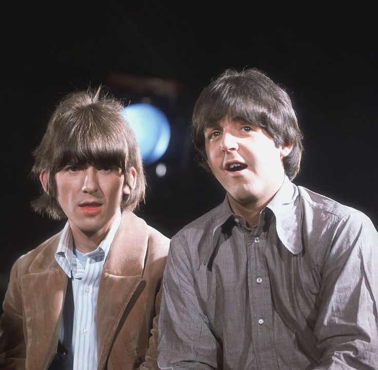 Beatles George Harrison and Paul McCartney during the Abbey Road session to record Paperback Writer and Rain, April 1966.