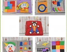 Carte senzoriala din fetru cu activitati pentru copii Quiet book Model 3