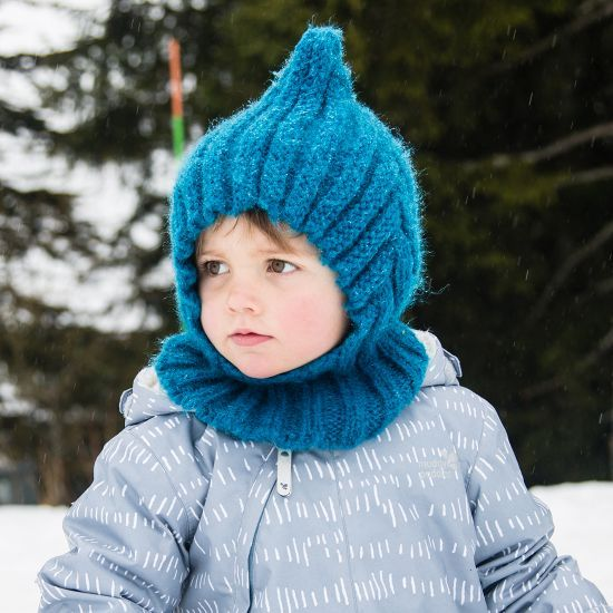 Kids Knitted Balaclava   Teal   Muddy Puddles