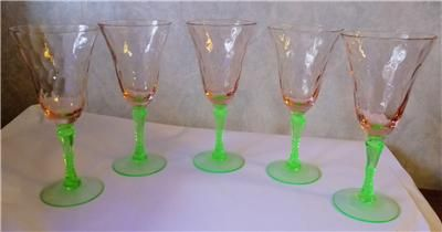 Set Of 5 Rare Green Stem Watermelon Glass Depression