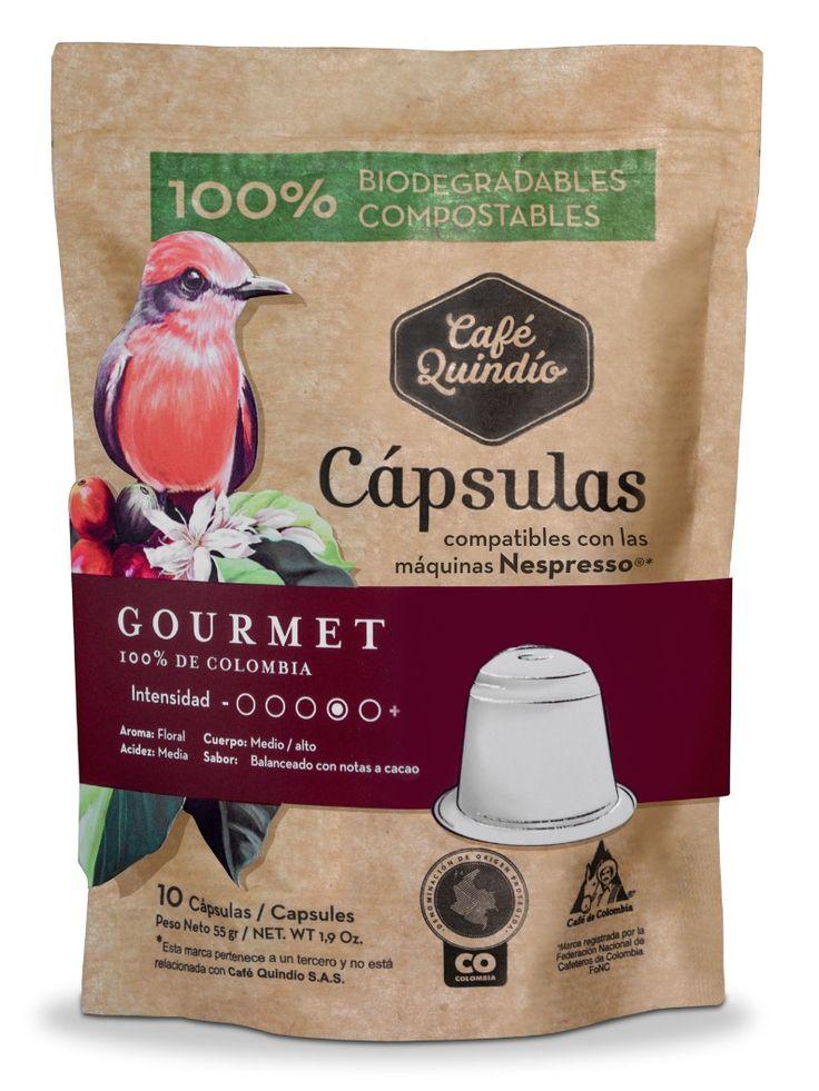 Café Quindío Gourmet - Coffee Capsules (Compatible with Nespresso) 100% Biodegradables.