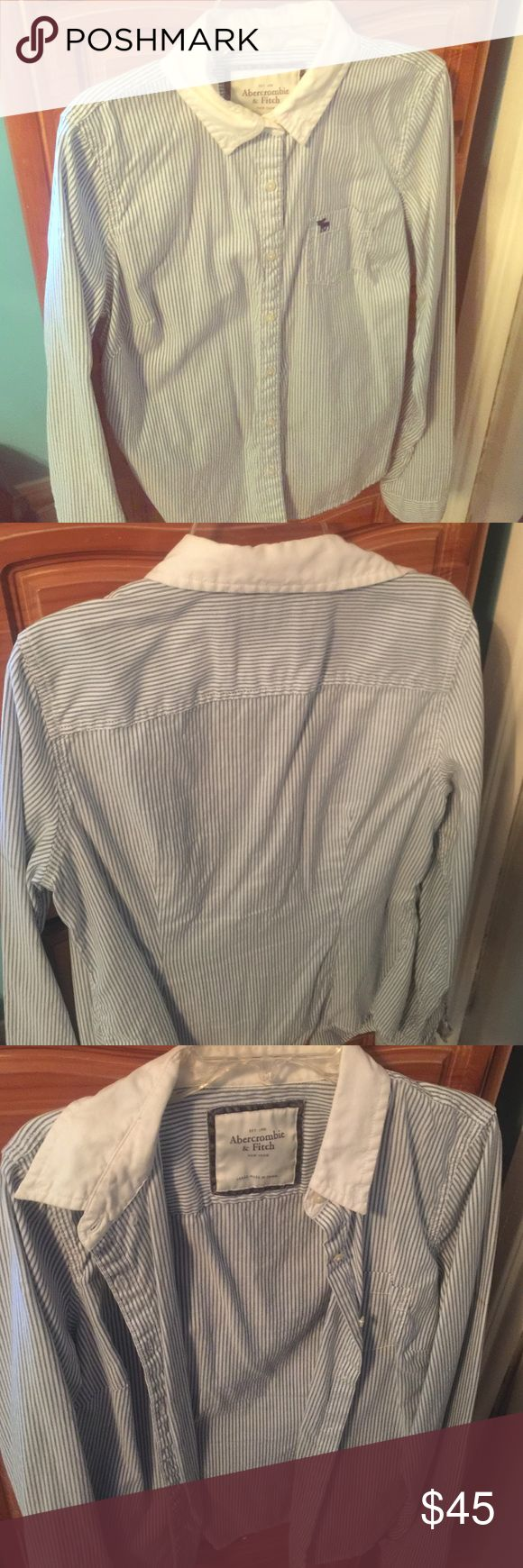 Abercrombie and Fitch Women's Striped Button-Up Large women's Abercrombie and Fitch Striped Button-Up in blue/white with white collar. It's a really nice shirt for a uniform or even work. Abercrombie & Fitch Skirts
