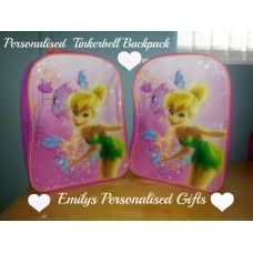 Lovely and Personalised Tinkerbell backpack £9.00 plus p+p (Personalised with fabric paint and covered in a fixing solution)