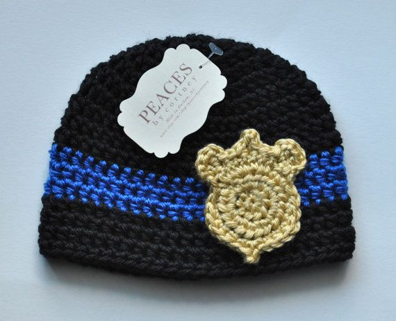 Baby Hats   Police Officer Baby Beanie Hat Baby by peacesbycortney, $28.00
