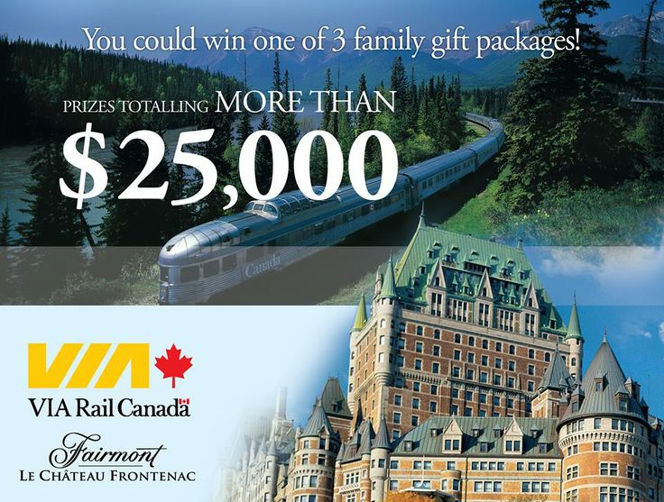 "[CLOSED] Enter our ""Celebrate summer"" contest for a chance to win one of three family gift packages including a VIA Rail Canada travel credit of $5,000 plus an exclusive VIP getaway to the Fairmont Le Château Frontenac in Quebec City valued at $4,200. More details on our website."