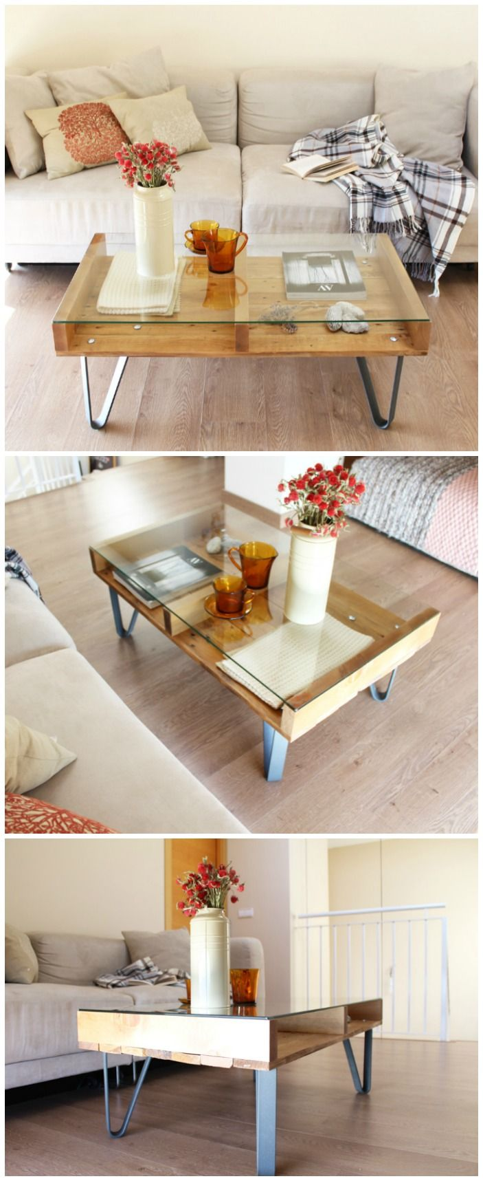 mesa industrial, mesa de madera reciclada, mesa de centro, mesa de madera con patas de metal. Industrial coffee table, upcycled wood table