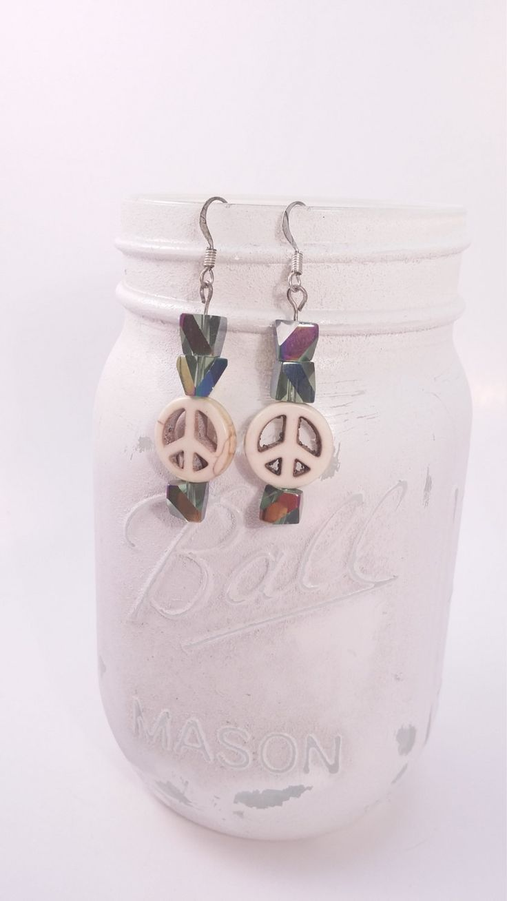 Peace sign Glass beaded dangle earrings, teenager sweet 16, new driver, birthday gifts, gifts under 15