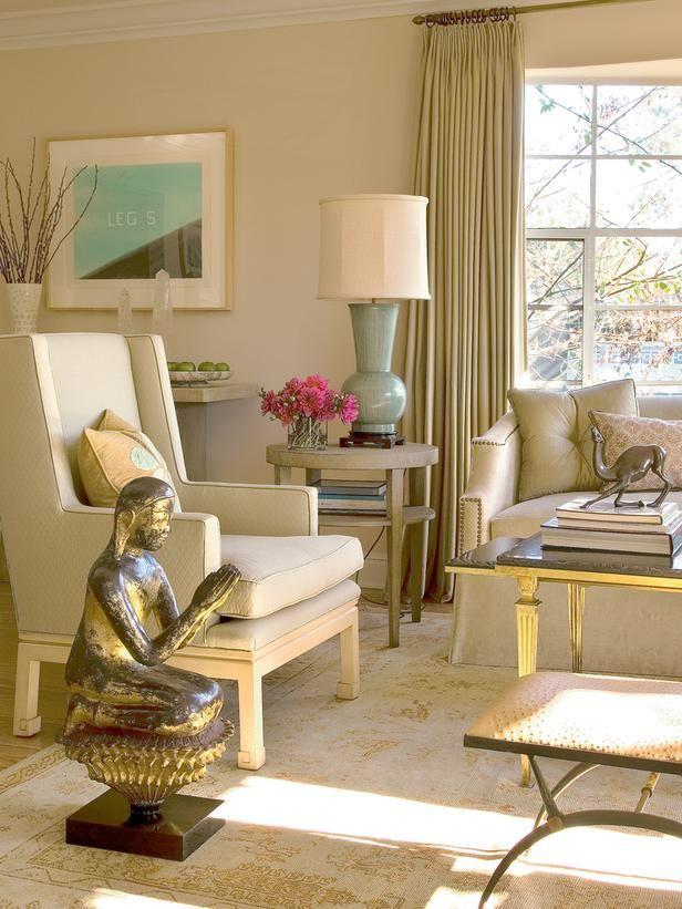 All Beige Living Room W Bronze Meditative Statuewall Color Farrow Balls