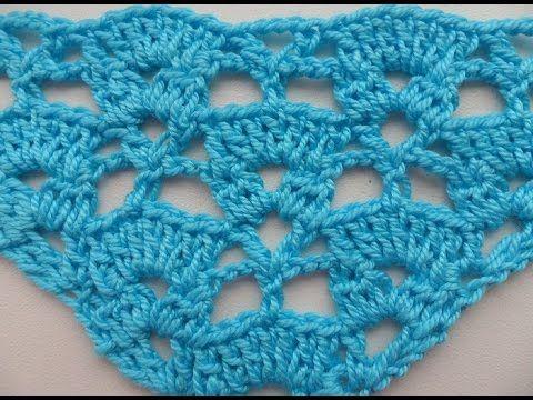 Узор для шали крючком №7 (pattern for shawl) - YouTube