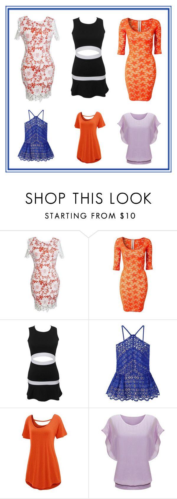 """Mini Robes Orange Floral Overlay Robe En Dentelle"" by modebuy ❤ liked on Polyvore"
