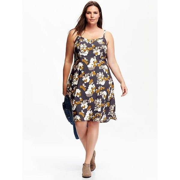 Old Navy Printed Plus Size Sundress ($36) ❤ liked on Polyvore featuring plus size fashion, plus size clothing, plus size dresses, black, plus size, smocked dresses, plus size black dress, womens plus size sundresses and women plus size dresses