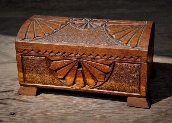 Antique Chip Carved Wood Box Domed Hinged Lid Lock No