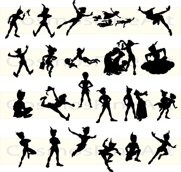 Peter Pan silhouette digital clipart, 22 PNG, 22 JPG, Instant download by CosmosFineArt on Etsy