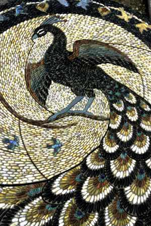 Peacock and Finch pebble mosaic -Maggy Howarth
