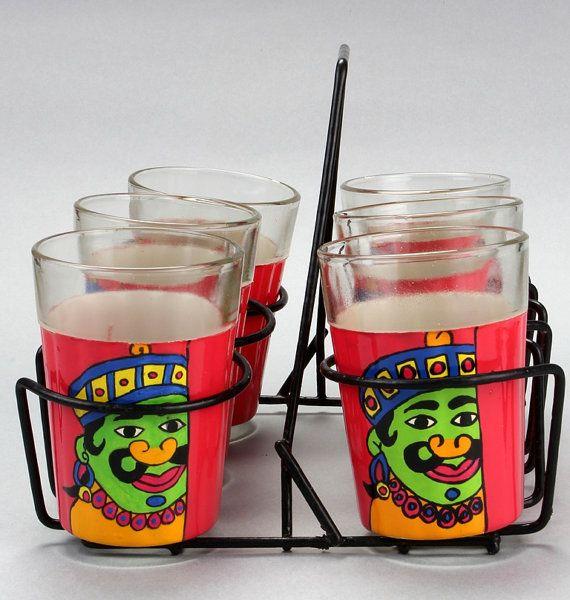 Hand Painted designer Glass set of six   Ali Baba by AKrazyMug1, $29.00