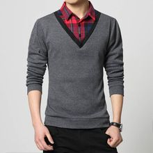 Men's Plaid Shirt Collar False Two Stitching Design Long Sleeved T-shirt 2018 spring Autumn New Leisure Men's Clothing Size 4XL //Price: $US $13.93 & FREE Shipping //   #gloves #decor #dresses #skirts #pants #tshirts