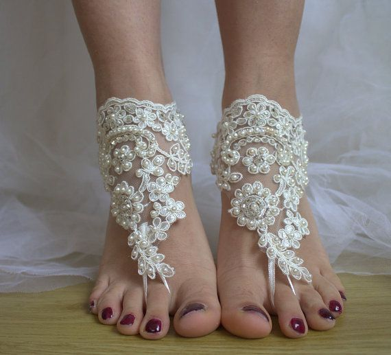 Hey, I found this really awesome Etsy listing at https://www.etsy.com/listing/267941264/beaded-ivory-lace-wedding-sandals-free