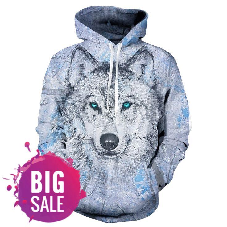 Man Hoodie Wolf 3D Graphic Full Printed Casual Long Sleeves Pullover Hoodies