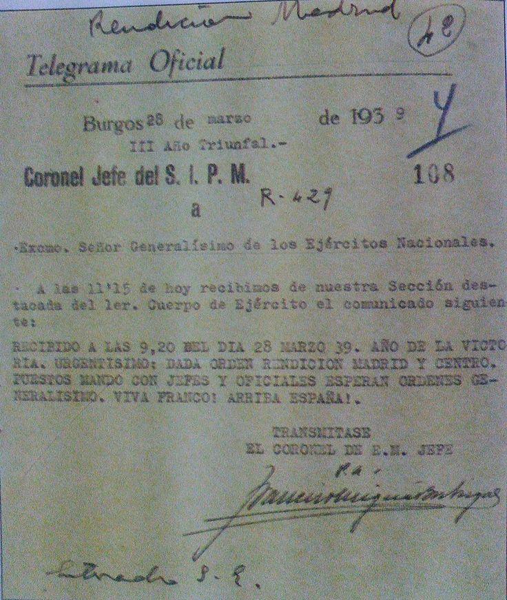 Spain - 1939. - GC - Comunicado sobre la rendición de Madrid. Marzo 1939.