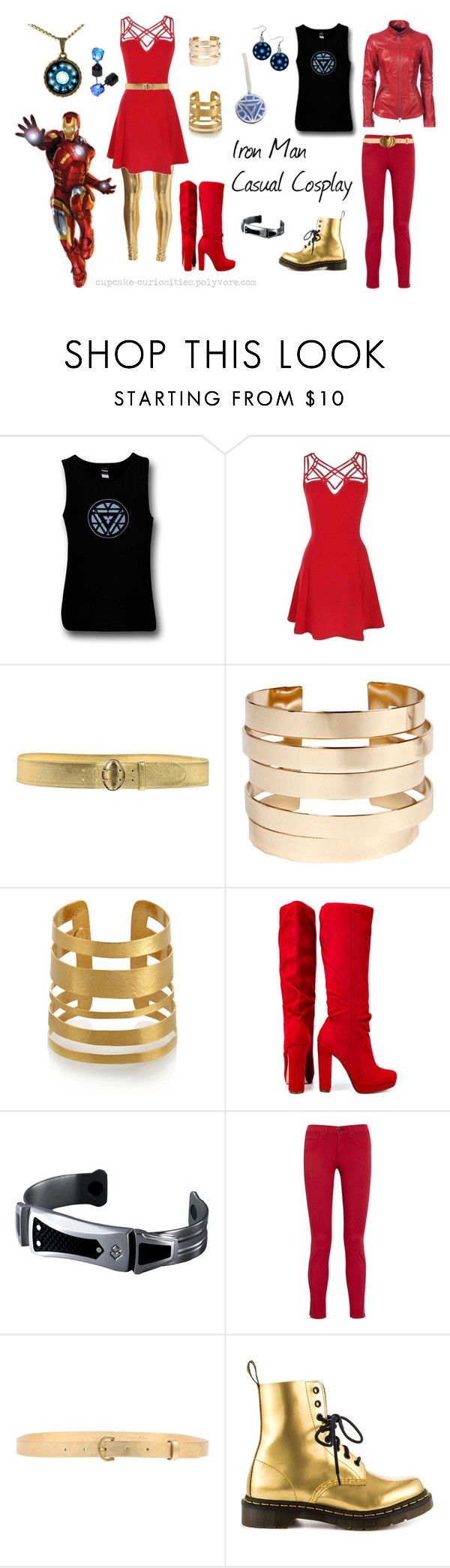 """Iron Man Casual Cosplay"" by cupcake-curiosities ❤ liked on Polyvore featuring Chanel, Prada, Boohoo, Hervé Van Der Straeten, Michael Antonio, rag & bone/JEAN, Christian Dior, Dr. Martens and Danier"
