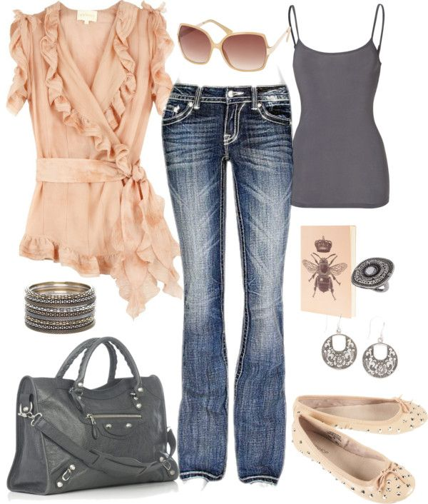 """Soft Peach and Gray"" by fun-to-wear on Polyvore"