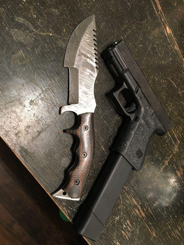 Glock 23C & handmade Damascus blade