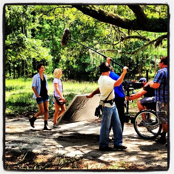Stars Julianne Hough and Cobie Smulders film a Safe Haven Movie scene together in a beautiful wooded area in Southport, North Carolina.