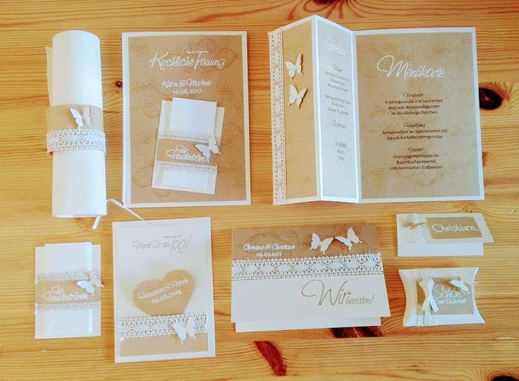 Hochzeitseinladung Vintage Butterfly - Bastelset