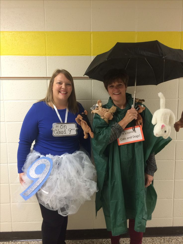"""Teacher Halloween costumes! Idioms! """"On Cloud 9"""" and """"It's raining cats and dogs"""""""