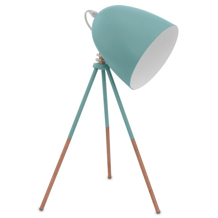 Eglo Dundee Pastel Green Amp Copper Tripod Table Lamp