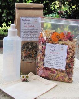 Includes Bath Herbs (100g) , Sachet, Cleansing Bottle & Pretty Petals  Postnatal Bliss bath herbs (100g) Muslin Sachet Cleansing Bottle Pretty Petals Full Instructions