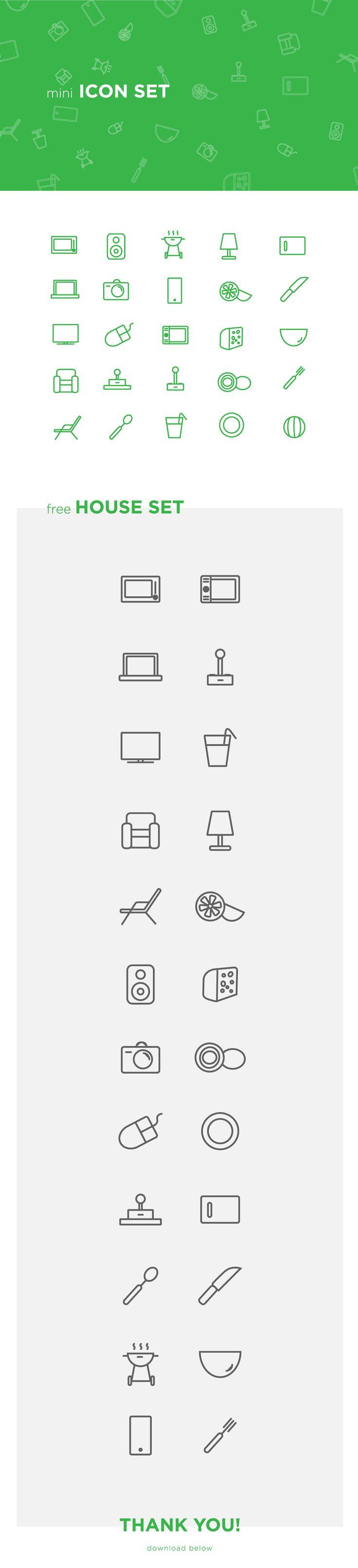 Web design inspiration UI/UX user experience fashion concept Icons mini House Icon Set (free) on Behance