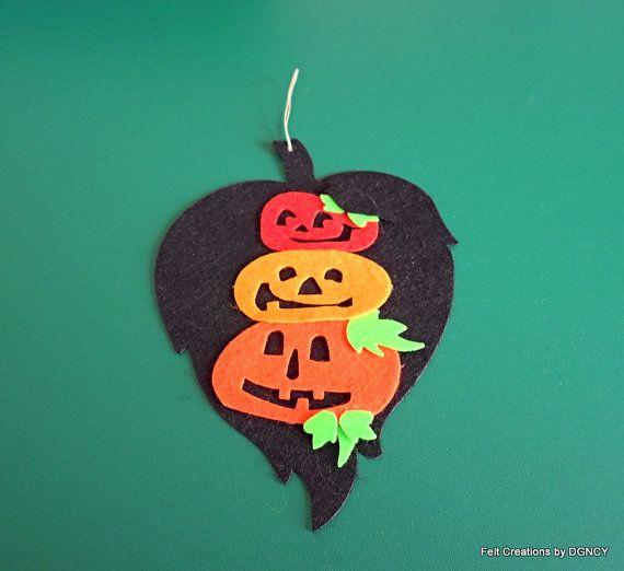 Felt Halloween Ornamentfelt pumpkin by FeltCreationsbyDGNCY